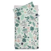 Jollein Bettbezug mit Kissenbezug Blätter 100×140 cm Grün