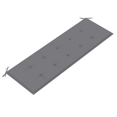 vidaXL Gartenbank mit Grauer Auflage 150 cm Massivholz Teak