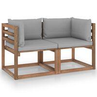 vidaXL Garten-Palettensofa 2-Sitzer mit Kissen Grau Kiefernholz