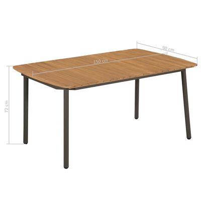 vidaXL Garten-Esstisch Akazienholz Massiv und Stahl 150 x 90 x 72 cm