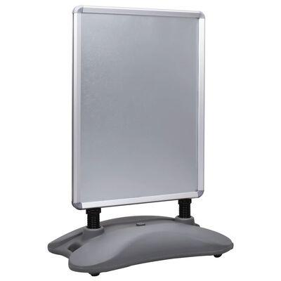 vidaXL A1-Plakatständer Wasserbefüllbar Grau Aluminiumlegierung