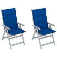 vidaXL Verstellbare Gartenstühle 2 Stk. mit Auflagen Massivholz Akazie