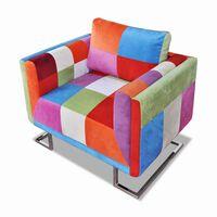 vidaXL Würfel-Sessel mit verchromten Füßen Patchwork-Design Stoff
