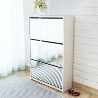 vidaXL Schuhschrank mit 3 Fächern Spiegel Weiß 63x17x102,5 cm