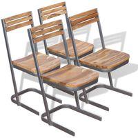 vidaXL Esszimmerstühle 4 Stk. Massivholz Teak