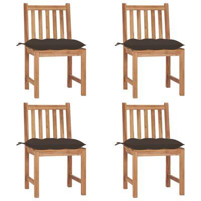 vidaXL Gartenstühle 4 Stk. mit Kissen Massivholz Teak