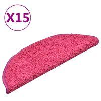 vidaXL Treppenmatten 15 Stk. Rosa 56x17x3 cm