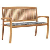 vidaXL Stapelbare Gartenbank mit Auflage 128,5 cm Massivholz Teak