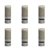 Bolsius Stumpenkerze Kerzen kieselgrau 190x68mm 6-tlg