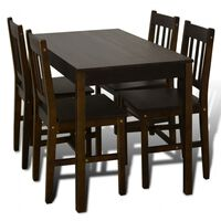 Esstisch Holztisch mit 4 Holzstühlen Esszimmerset braun