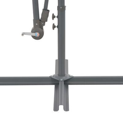vidaXL Ampelschirm mit LED-Leuchten Azurblau 350 cm