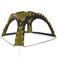 vidaXL Partyzelt mit LED und 4 Seitenwänden 3,6 x 3,6 x 2,3 m Grün