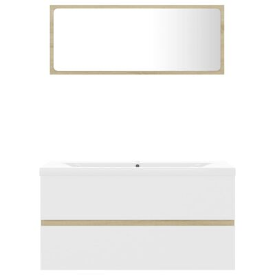 vidaXL Badmöbel-Set Weiß und Sonoma-Eiche Spanplatte