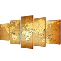 Bilder Dekoration Set Weltkarte 100 x 50 cm