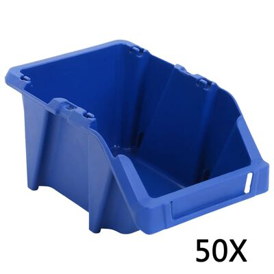 vidaXL Stapelbare Lagerboxen 50 Stk. 200 x 300 x 130 mm Blau