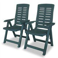 vidaXL Verstellbare Gartenstühle 2 Stk. Kunststoff Grün