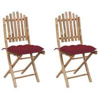 vidaXL Klappbare Gartenstühle 2 Stk. mit Kissen Bambus