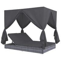 vidaXL Outdoor-Lounge-Bett mit Vorhängen Poly Rattan Grau