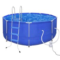 Swimming Pool Round 367 cm with Ladder & Filter Pump 300 gal / h (90528+90566+90560)