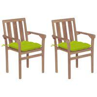 vidaXL Gartenstühle 2 Stk. mit Hellgrünen Kissen Massivholz Teak