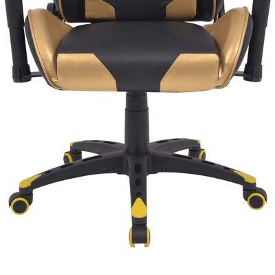 vidaXL Bürostuhl Gaming-Stuhl Neigbar Kunstleder Gold