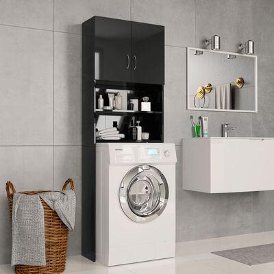 vidaXL Waschmaschinenschrank Hochglanz-Schwarz 64×25,5×190 cm