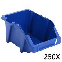 vidaXL Stapelbare Lagerboxen 250 Stk. 103 x 165 x 76 mm Blau