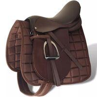 "Pferdereiten Sattelset 17,5"" echtes Leder braun 18 cm 5-in-1"