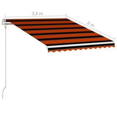 vidaXL Automatisch Einziehbare Markise 350×250 cm Orange und Braun