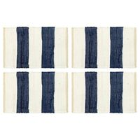 vidaXL Tischsets 4 Stk. Chindi Gestreift Blau und Weiß 30 x 45 cm