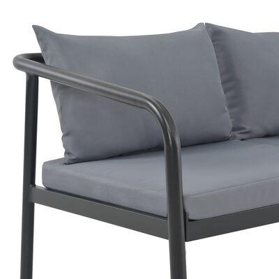 vidaXL 2-Sitzer-Gartenbank mit Auflagen Grau Aluminium