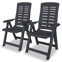 vidaXL Verstellbare Gartenstühle 2 Stk. Kunststoff Anthrazit