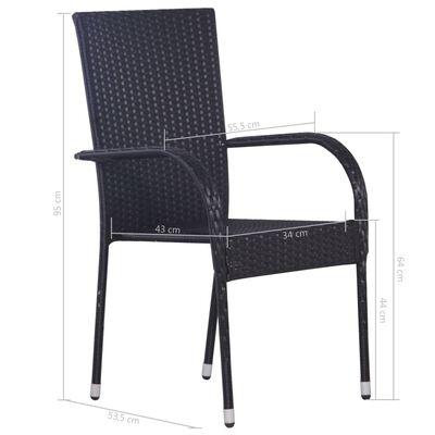 vidaXL Stapelbare Gartenstühle 2 Stk. Poly Rattan Schwarz