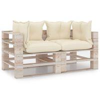 vidaXL Garten-Palettensofa 4-Sitzer mit Kissen Kiefernholz