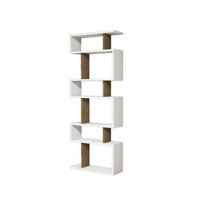 Homemania Bücherregal Tablero 60x20x156,6 cm Weiß und Walnuss