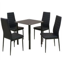 vidaXL 5-tlg. Essgruppe Esstisch mit Stühlen Schwarz