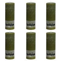 Bolsius Rustikale Stumpenkerzen 6 Stk. 190 x 68 mm Olivgrün