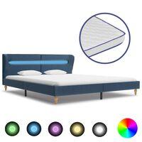 vidaXL Bett mit LED und Memory-Schaum-Matratze Blau Stoff 180×200 cm
