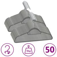 vidaXL 50 Stk. Kleiderbügel-Set Anti-Rutsch Grau Samt