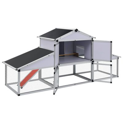 vidaXL Hühnerstall mit Freilaufgehege und Nistkasten Aluminium