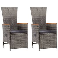 vidaXL Garten-Liegestühle 2 Stk. mit Auflagen Poly Rattan Grau