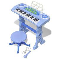 Kinder Keyboard Spielzeug Piano mit Hocker/Mikrofon 37 Tasten Blau
