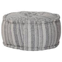 vidaXL Handgefertigter Sitzpuff mit Muster Grau 50 x 25 cm Baumwolle