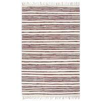 vidaXL Handgewebter Chindi-Teppich Baumwolle 120x170cm Weinrot Weiß