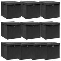 vidaXL Aufbewahrungsboxen mit Deckel 10 Stk. Schwarz 32×32×32 cm Stoff