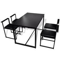 vidaXL 5-teilige Essgruppe Tisch + 4 Stühle Schwarz