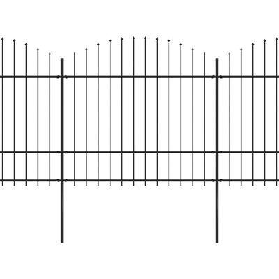 vidaXL Gartenzaun mit Speerspitzen Stahl (1,5 - 1,75) x 13,6 m Schwarz