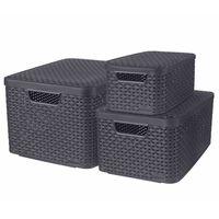Curver Aufbewahrungsboxen mit Deckel Style 3 Stk. S+M+L Anthrazit