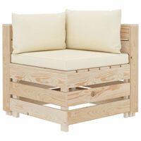 vidaXL Garten-Paletten-Ecksofa mit Creme-Auflagen Holz