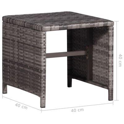vidaXL Sonnenliege mit Tisch Poly Rattan Grau